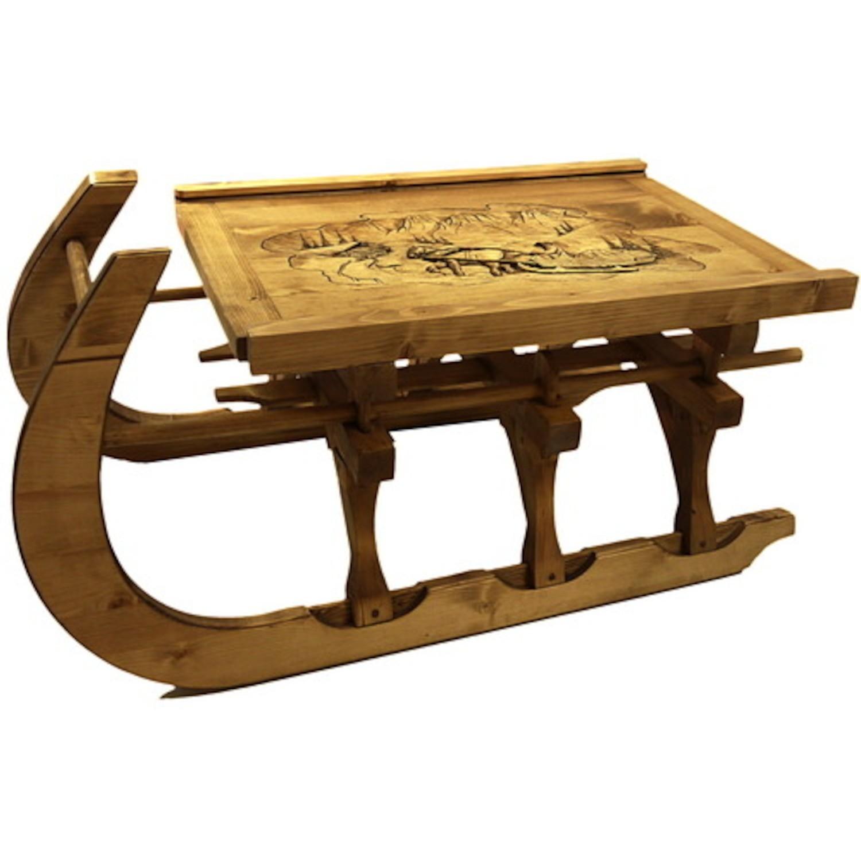 Table basse luge verre sculpt traineau cir for Table basse vieux bois