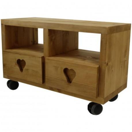 Meuble tv cube 2 tiroirs coeur, 4 roulettes