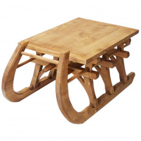 Table basse luge plateau bois ciré