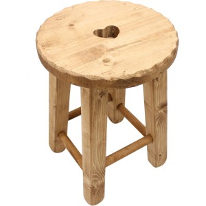 Tabouret rond coeur vague