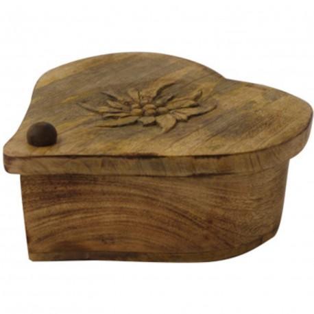 Boite bois brulé coeur sculpté edelweiss