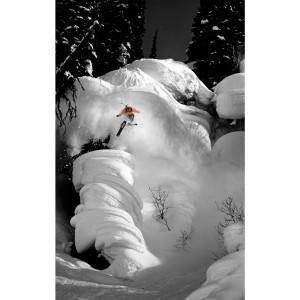 Skieur en poudre veste orange