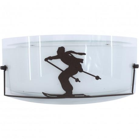 Applique moderne verre et metal rouille