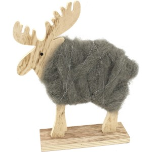 Renne déco en laine gris