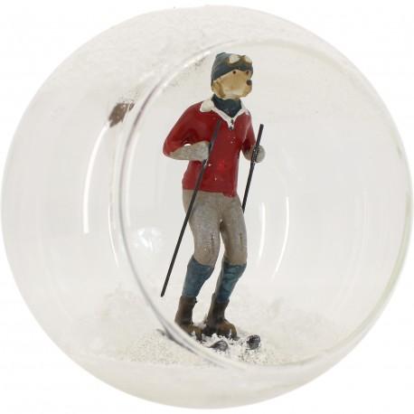 Boule en verre chien en skis