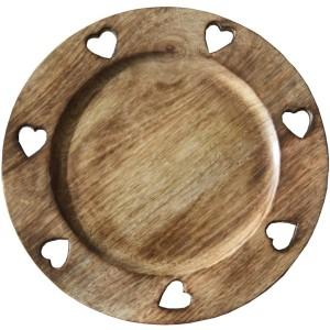 Assiette bois brulé 7 coeurs découpés