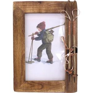Cadre photo bois brulé skis et bâtons
