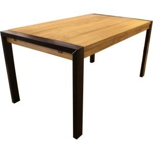 Table rectangulaire en pin massif brossé avec pieds métal