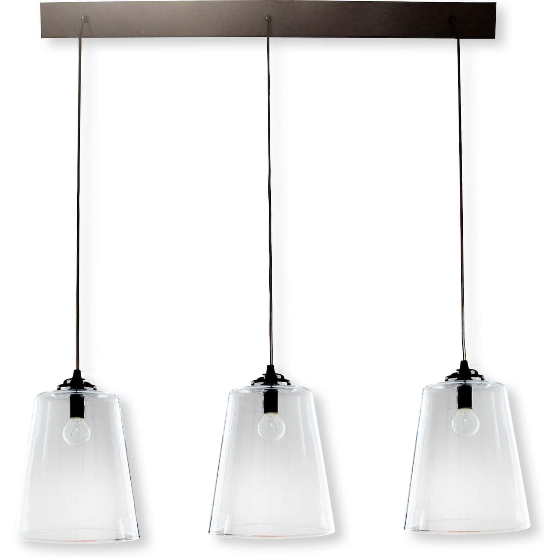 rampe metal noir 3 lampes abat jour verre diane. Black Bedroom Furniture Sets. Home Design Ideas