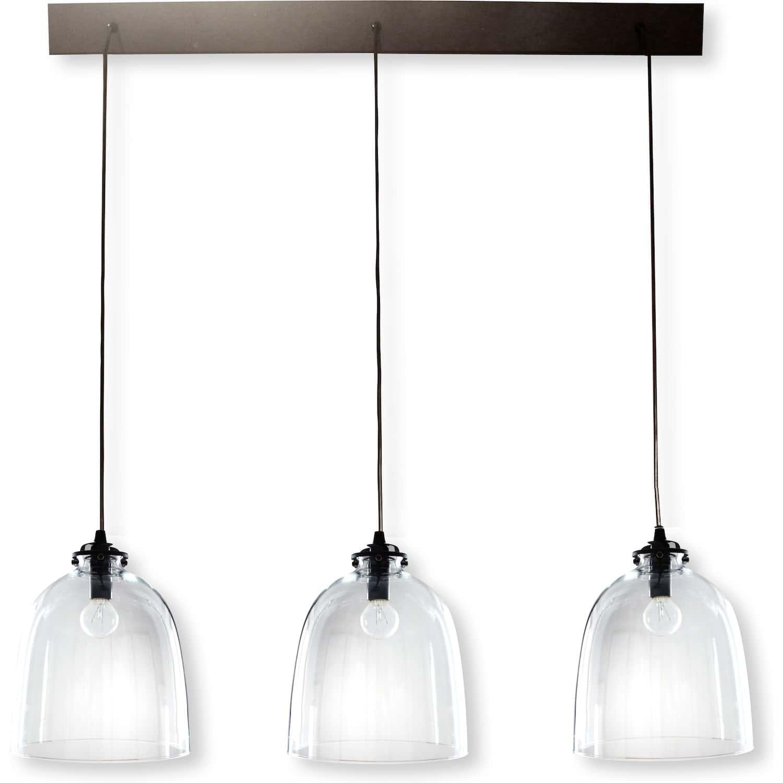 Rampe metal noir 3 lampes abat jour verre diane for Lampe suspension verre