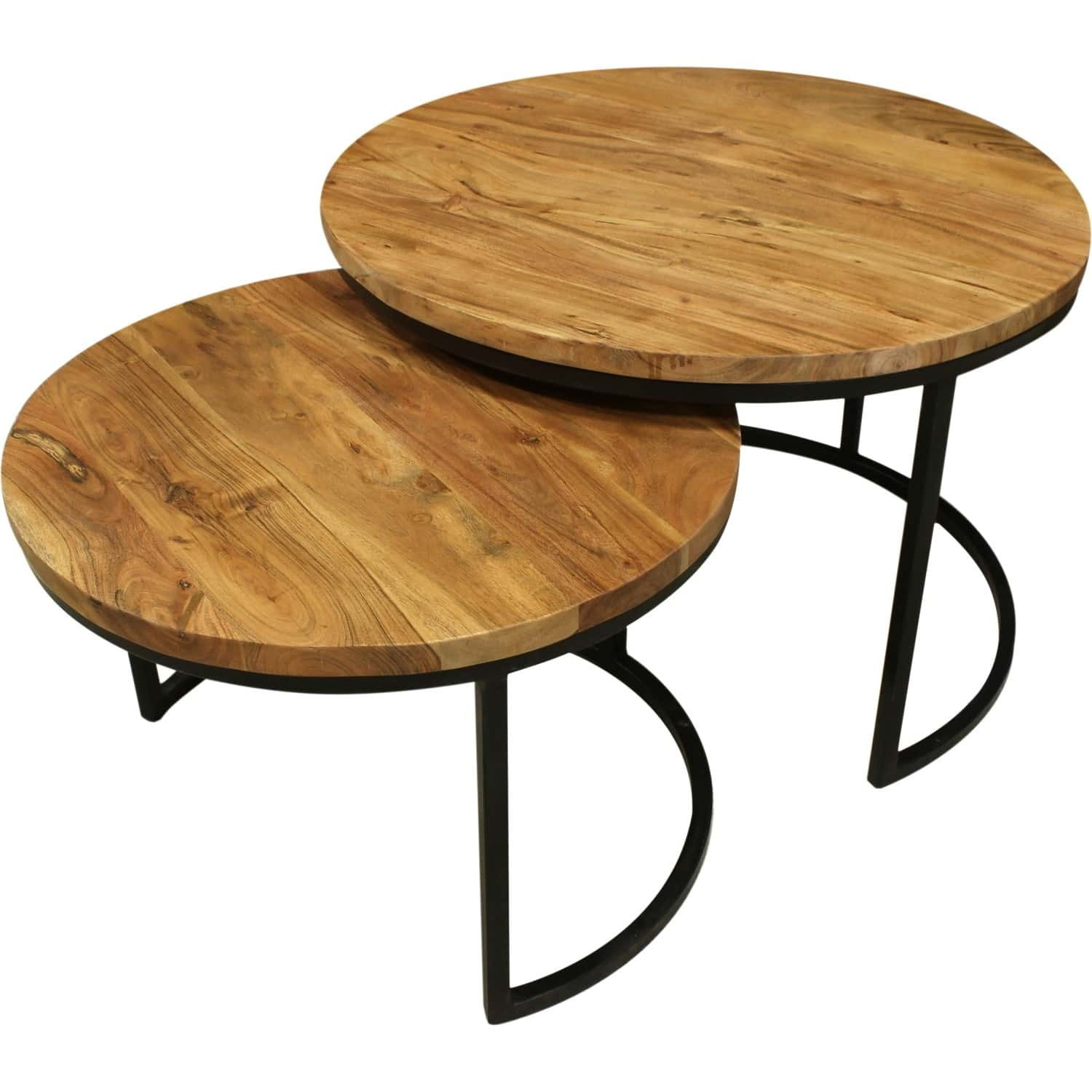 Tables basses gigognes bois et metal for Table basse gigogne ronde bois