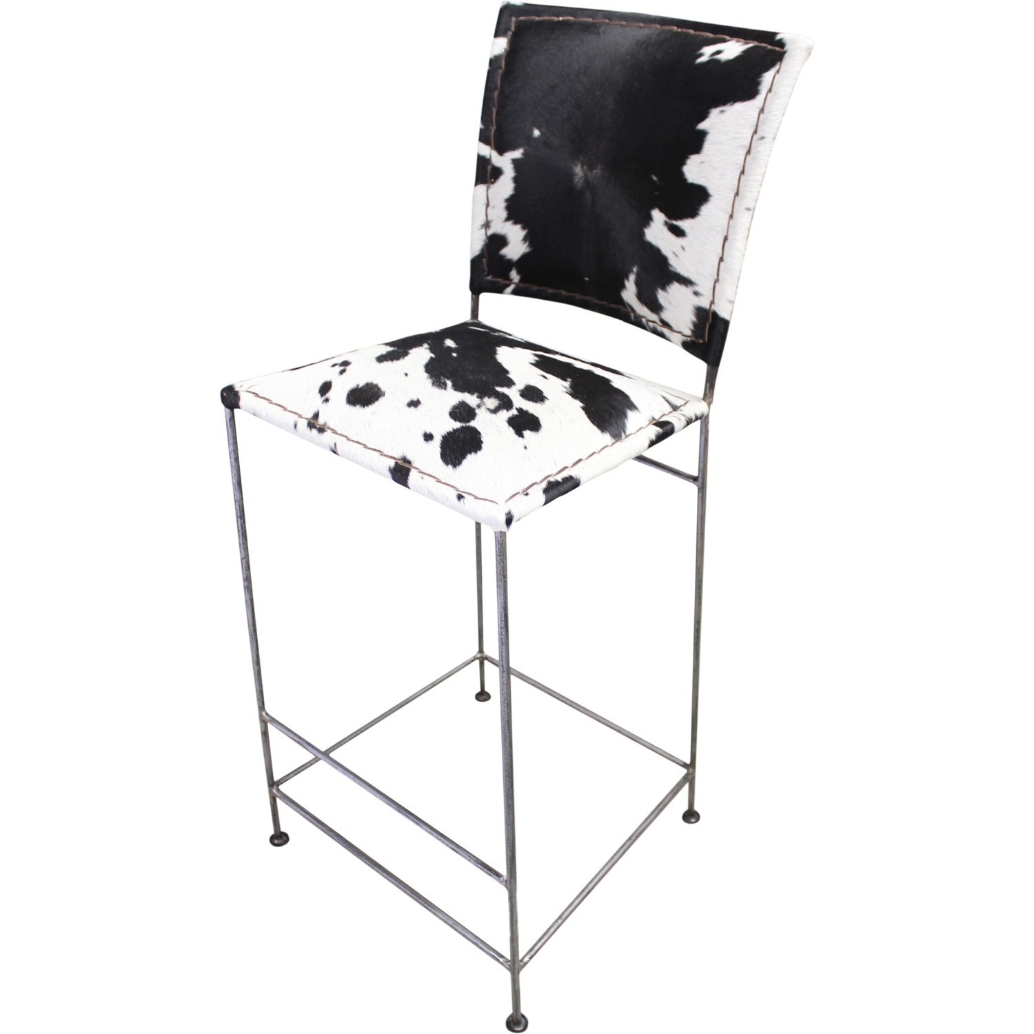 tabouret de bar m tal et peau de vache. Black Bedroom Furniture Sets. Home Design Ideas