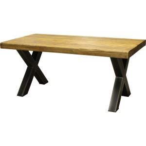 Table teck massif recyclé et pieds métal en x foresta