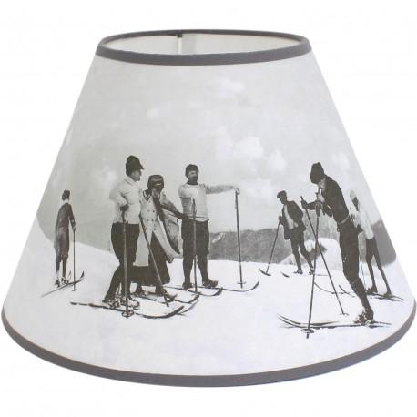 abat jour conique skieurs vintage noir et blanc. Black Bedroom Furniture Sets. Home Design Ideas