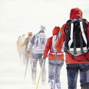 Tableau randonneurs dans le blizzard