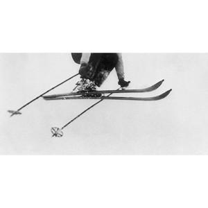 Toile sur chassis saut d'un skieur vintage de coté