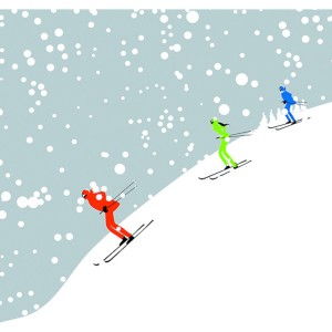 Toile sur chassis groupe de 3 skieurs
