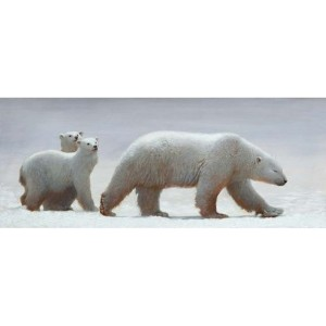 Toile sur chassis mère ours polaire et 2 petits