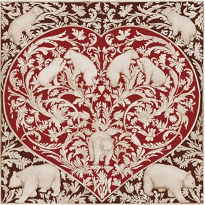 Toile sur chassis coeur ours rouge et brun
