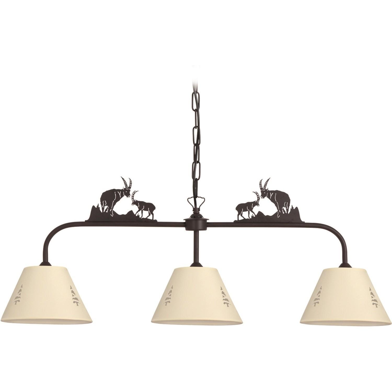 lustre 3 lampes align es bouquetins abat jour sapin. Black Bedroom Furniture Sets. Home Design Ideas