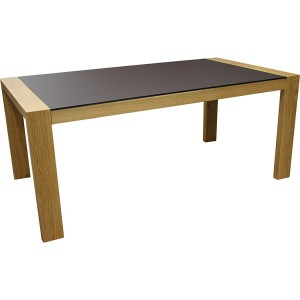 Table chêne et fenix avec deux allonges intégrée perla