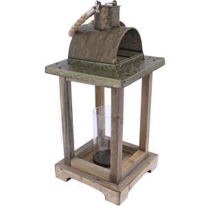 Lanterne en bois verre cylindrique