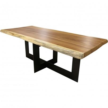 Table en irocco massif avec pieds croisé acier cenitz