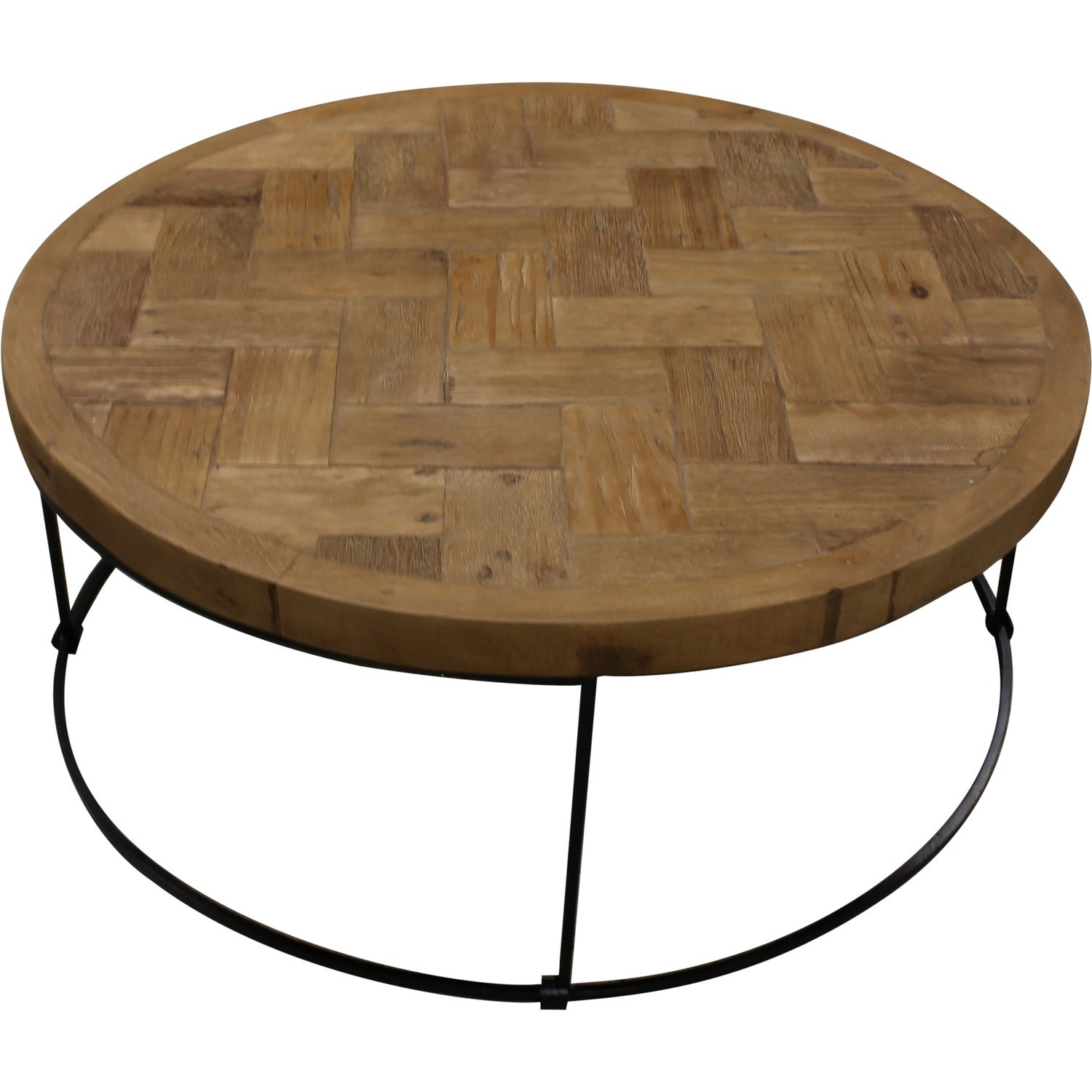 Table Basse Ronde Style Marqueterie En Teck Recycle