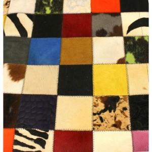 Tapis quadrillé vache multicolors