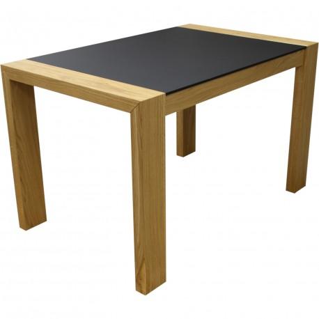 Table chêne et fenix avec allonge intégrée perla