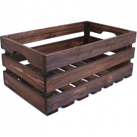 Caisse bois foncé