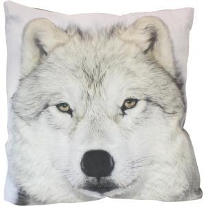 Coussin tête de loup blanc