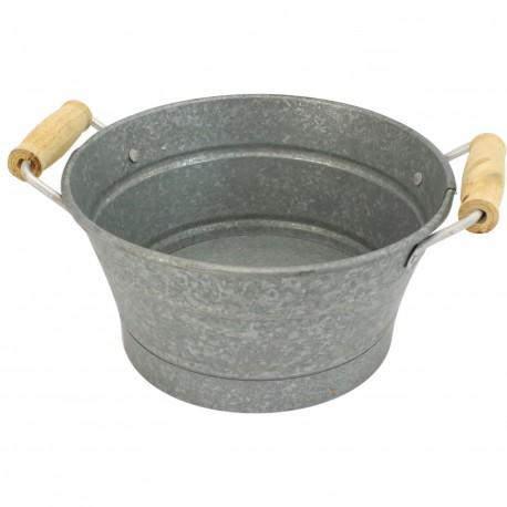 Corbeille zinc givre 2 anses bois