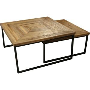 Table basses gigogne pieds métal et plateau bois