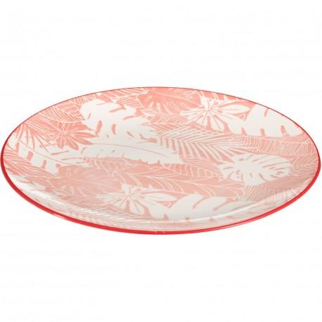 Assiette plate porcelaine feuilles corail