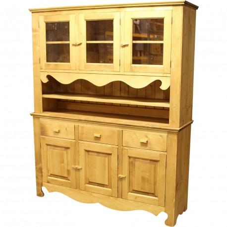 Bahut vaisselier 3 portes+3 tiroirs niche et 3 portes vitrées