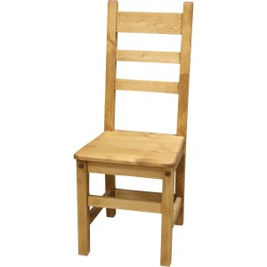 Chaise 3 barreaux en sapin huilé vieilli