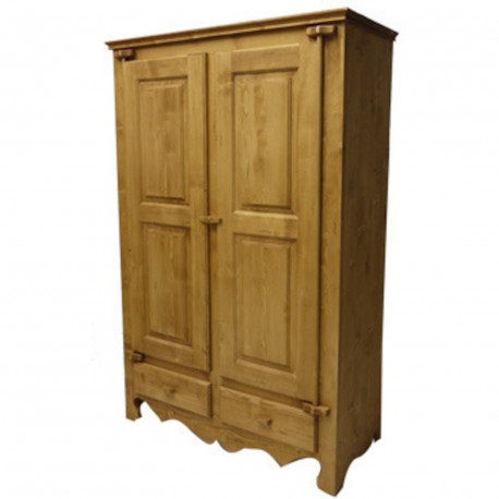 Armoire 2 portes 2 tiroirs huilé vieilli