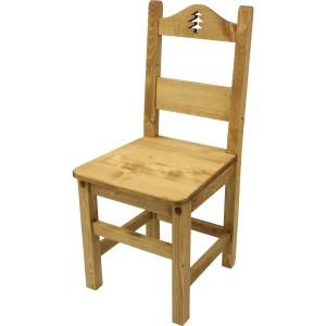 Chaise sapin découpé huilé vieilli