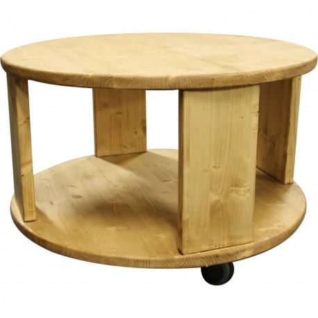 Table basse ronde 2 plateaux ciré