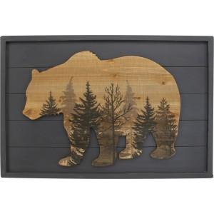 Cadre bois avec tête d'ours