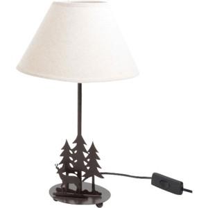 Lampe cerf-sapin, abat-jour lin