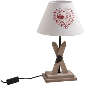 Lampe skis coeur rouge