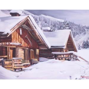 Toile sur chassis village sous la neige