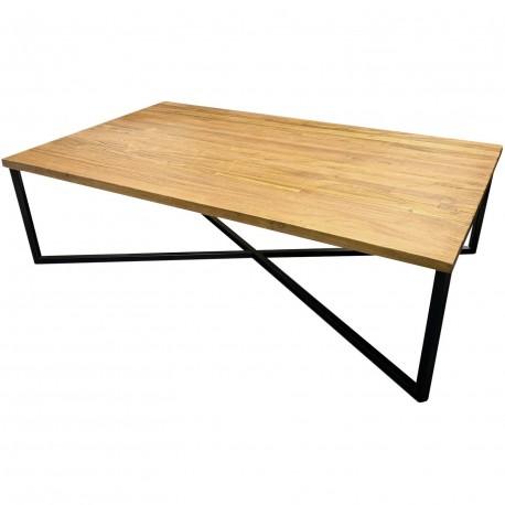 Table basse métal et teck recyclé