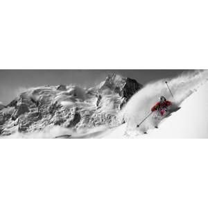 Plexi skieur arrière plan massif