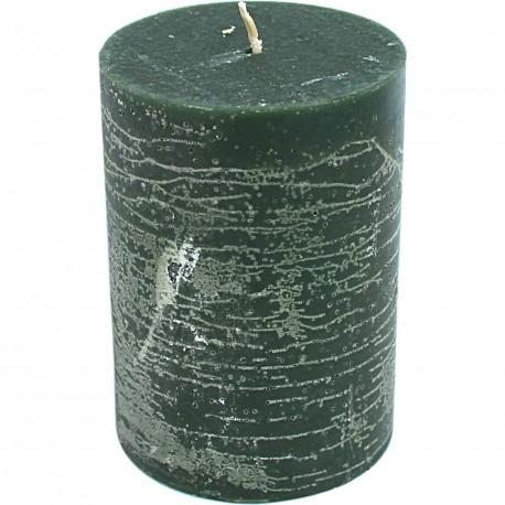 Bougie cylindrique vert foncé
